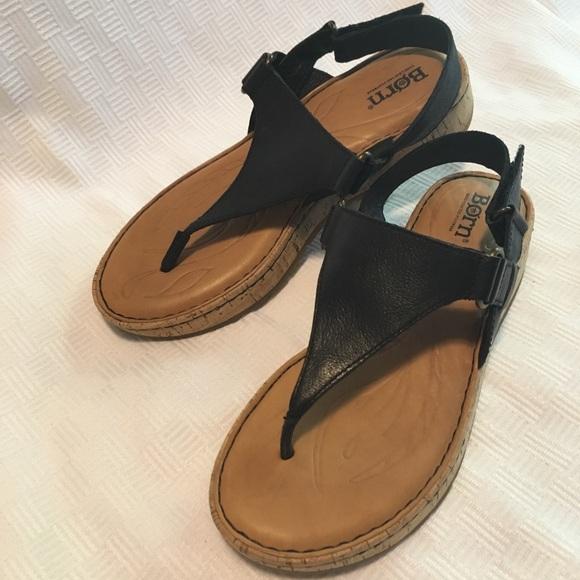 "680f50a7c53 Born ""Janelle"" wedge sandal in black- like new"
